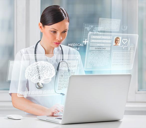 nurse on her laptop